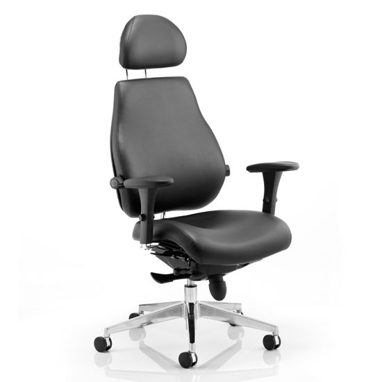 Chiro Plus Leather Headrest Office Chair In Black