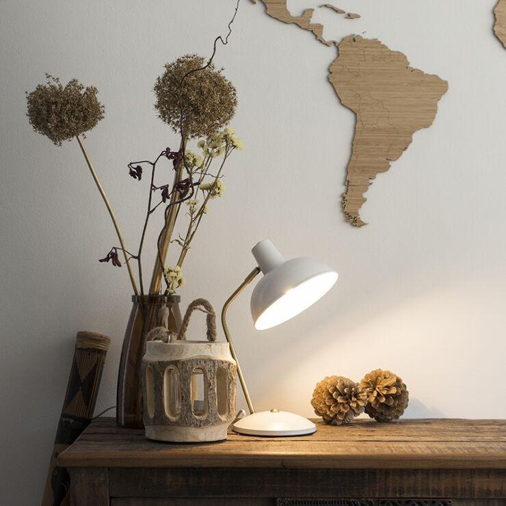 Retro table lamp white with bronze