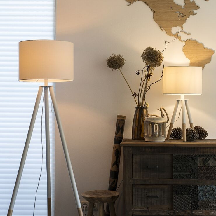 Set of Floor Lamp and Table Lamp Tripods