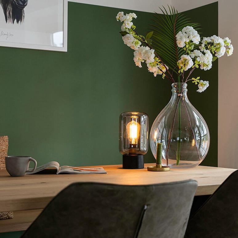 Design black with smoke glass table lamp