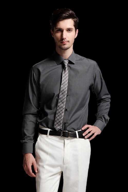 men dark grey shirt with tie