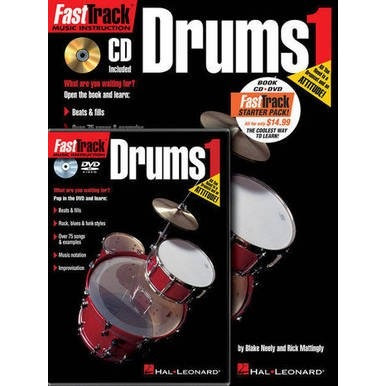 Fast Track Drums 1 Book, CD & DVD Package