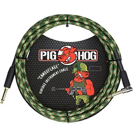 "Pig Hog ""Camouflage"" Instrument Cable, 10ft Right Angle (LIFETIME WARRANTY)"