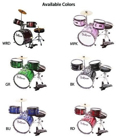 "De Rosa 3 Piece 12"" Kid's Junior Drum Set Green"