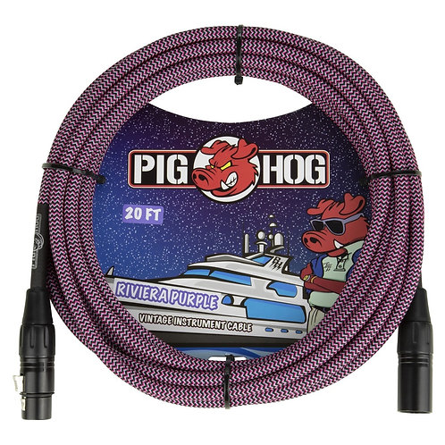 20 FT XLR Mic Cable Riviera Purple Woven