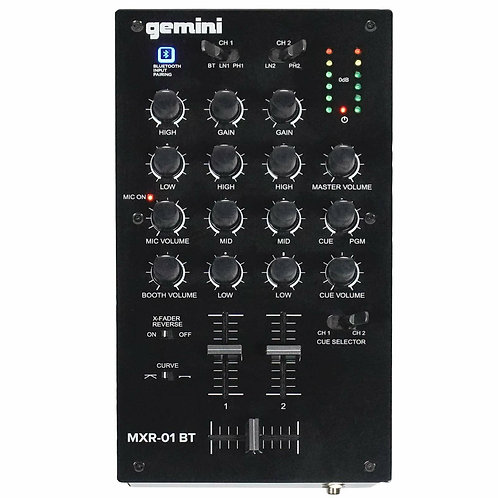 Gemini MM1BT 2-Channel Professional DJ Mixer with Bluetooth