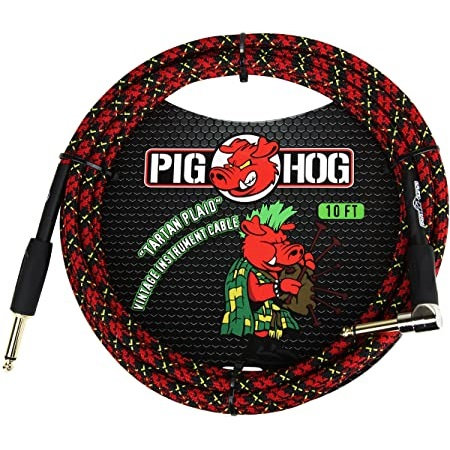 "Pig Hog ""Tartan Plaid"" Instrument Cable, 10ft Right Angle (LIFETIME WARRANTY)"