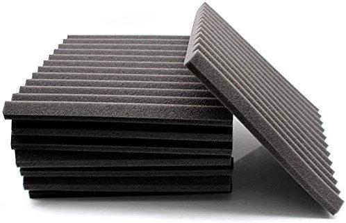 """1"""" x 12"""" x 12"""", Acoustic Foam Panels, Charcoal / Black"""