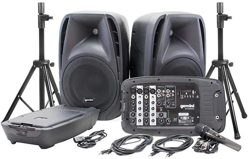Gemini Bluetooth Portable PA System Package With Detachable Powered Mixer