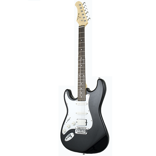 Glen Burton Solid Body H/S/S Strat Style Electric Guitar Left Handed - Black