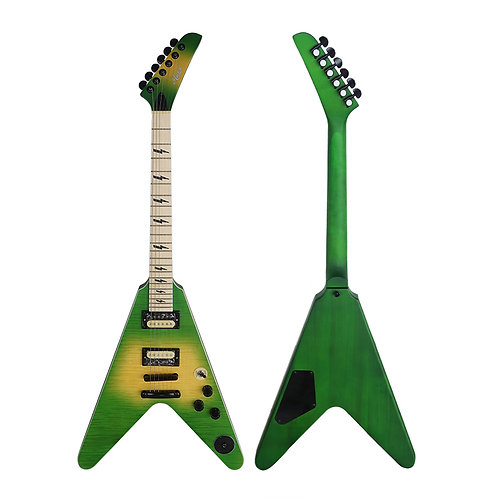 Aiersi Flying V Electric Guitar Green/Yellow