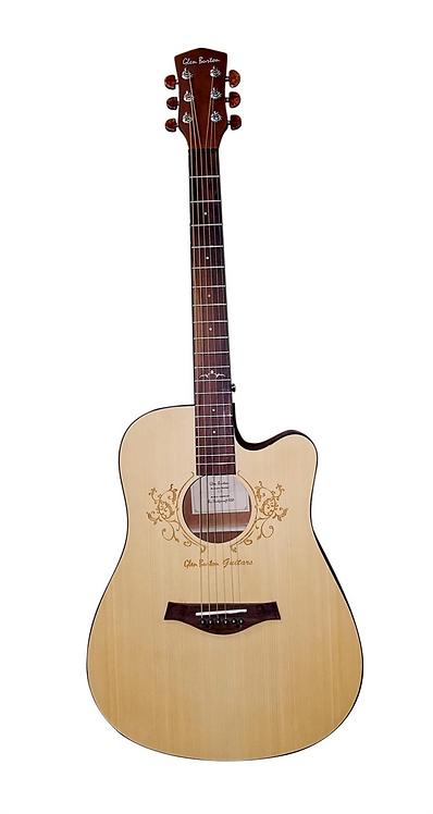 Glen Burton Deluxe Cutaway Dreadnought Acoustic Guitar With Laser Flow