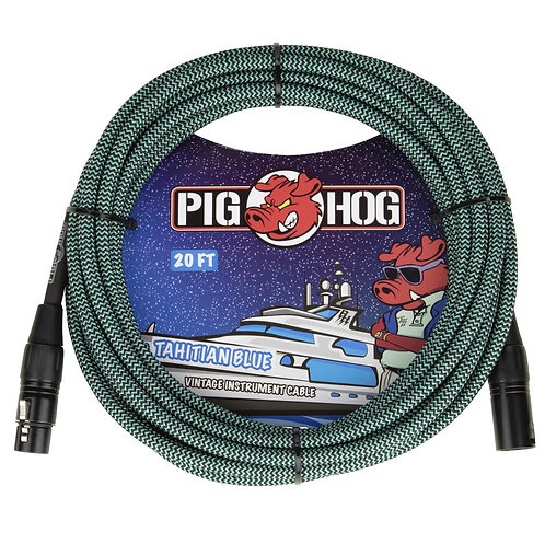 20 FT XLR Mic Cable Tahitian Blue Woven