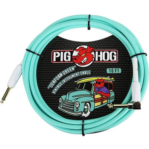 """Pig Hog """"Seafoam Green"""" Instrument Cable, 10ft Right Angle (LIFETIME WARRANTY)"""