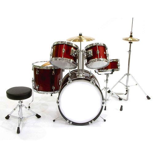 Junior 5-Piece Drum Kit with Hi-Hat, Crash, Hardware & Throne