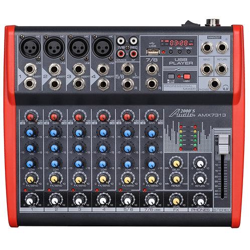 AUDIO 2000 - 7313 Eight-Channel Mixer with Phantom Power, USB, LED Display & EFX