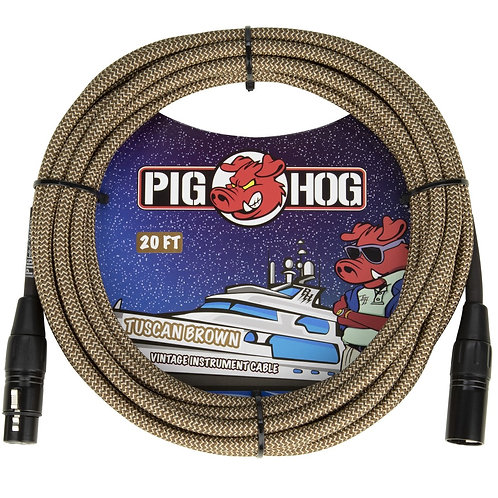 20 FT XLR Mic Cable Tuscan Brown Woven