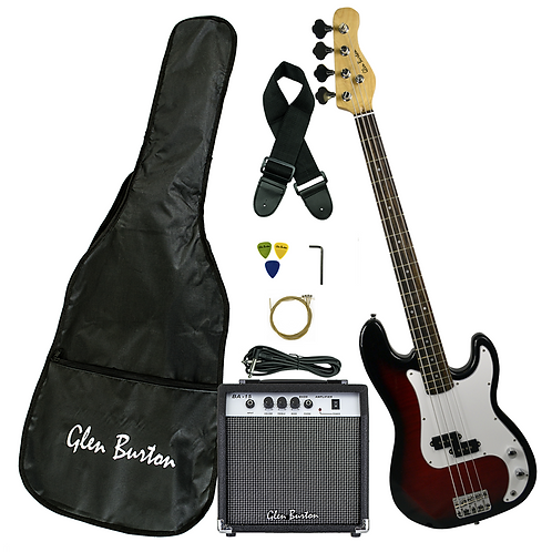 Glen Burton Electric P - Bass Guitar Complete Package