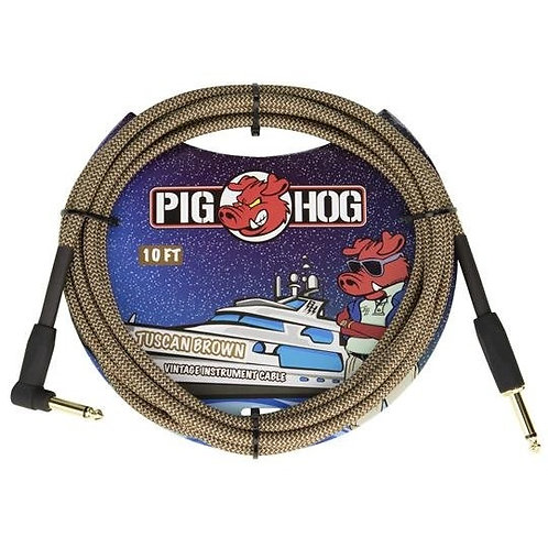 "Pig Hog ""Tuscan Brown"" Instrument Cable, 10ft Right Angle (LIFETIME WARRANTY)"