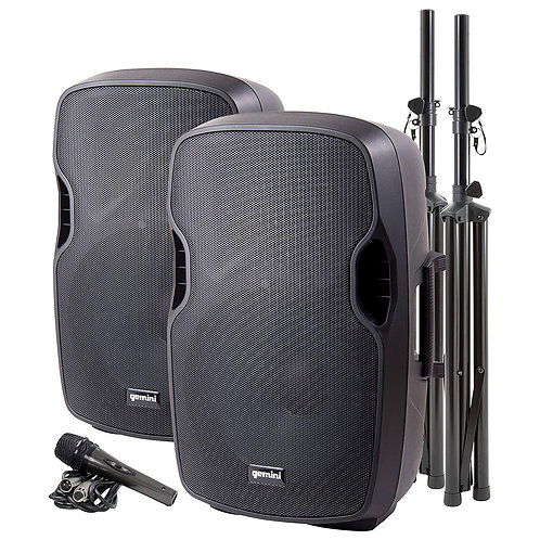 """Gemini PA System With Dual 15"""" Speaker, Speaker Stands, Mic, Cables"""
