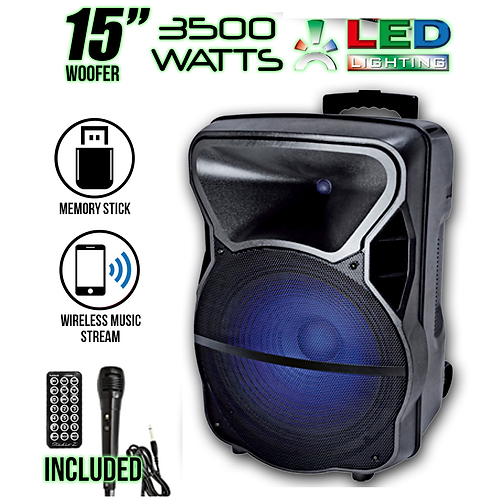 "Studio Z Bluetooth Powered Active LED 15"" Speaker"