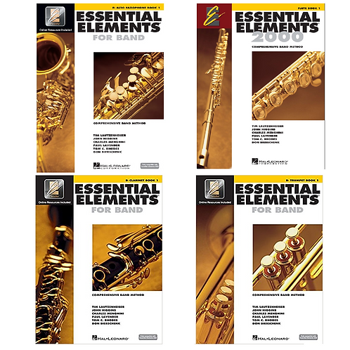 Essential Elements Flute, Clarinet, Trumpet, Alto Sax Books by Hal Leonard