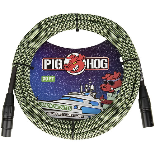 20 FT XLR Mic Cable Jamaican Green Woven