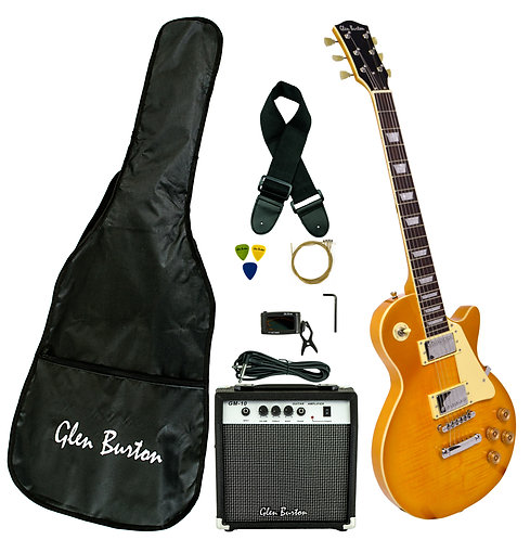 Glen Burton Les Paul Style Custom Limited Edition Gold Top Guitar Deluxe Package