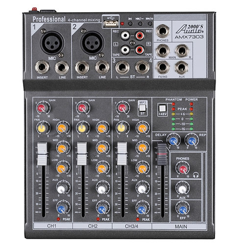 AUDIO 2000 -7303 Four-Channel Mixer with Phantom Power, USB & EFXs