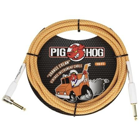 "Pig Hog ""Orange Crème 2.0"" Instrument Cable, 10ft Right Angle LIFETIME WARRANTY"