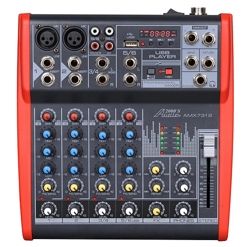 AUDIO 2000 - 7312 Six-Channel Mixer with Phantom Power, USB, LED Display & EFXs