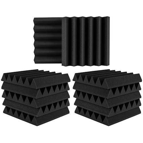"Extra Thick Studio Acoustic Foam Wedge Panel 12"" x 12"" x 2"""