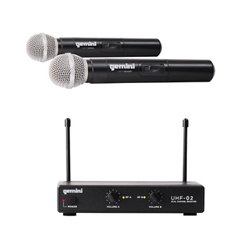 Gemini UHF-02M 2-Channel Wireless Handheld Microphone System