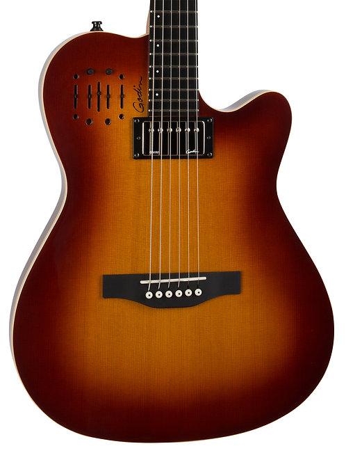 Godin A6 Ultra Cognac Burst HG 6 String RH Acoustic Electric Guitar with Gig Bag