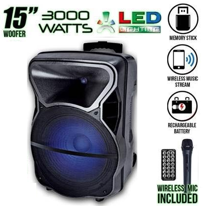 """15"""" Powered Rechargable Speaker with Wireless Microphone"""