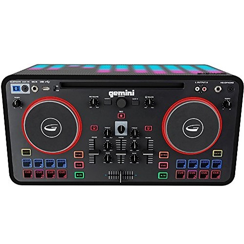 Gemini MIX2GO PRO DJ Mixer with Built-in Speakers & LED Light Show