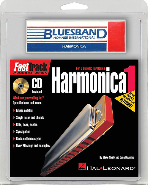 10 Hole Harmonica Fasttrack Pack with Bluesband Harmonica
