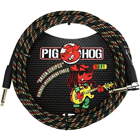 "Pig Hog ""Rasta Stripes"" Instrument Cable, 10ft Right Angle (LIFETIME WARRANTY)"