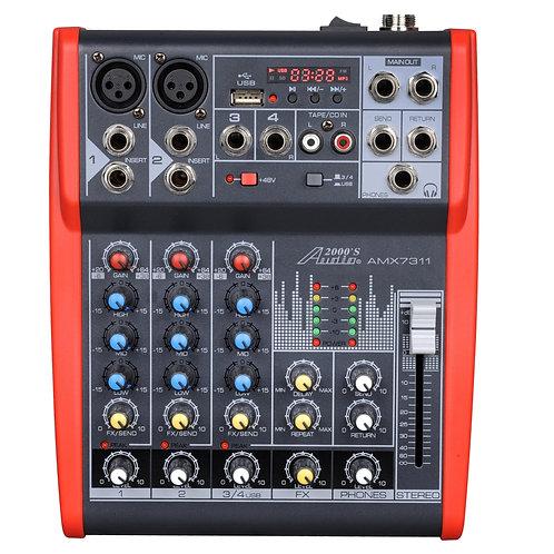 AUDIO 2000 - 7311 Four-Channel Mixer with Phantom Power, USB, LED Display & EFXs