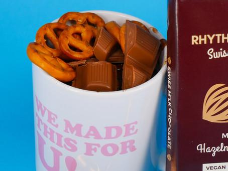 Recipe: Schar's Pretzels & Rhythm 108 Hazelnut Truffle Brownie Cake in a Mug
