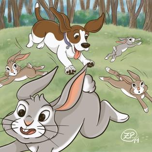 Dharma chasing bunnies