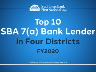 Our Chamber Member, Sunflower Bank, Ranks as Top 10 SBA 7(a) Bank Lender in Key Markets