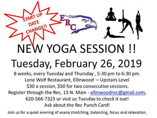 NEW YOGA SESSION Tuesday, February 26th