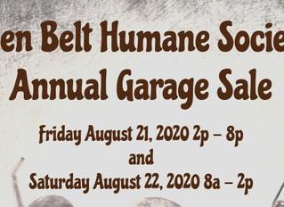 Golden Belt Humane Society's Annual Garage Sale Aug. 21 & 22
