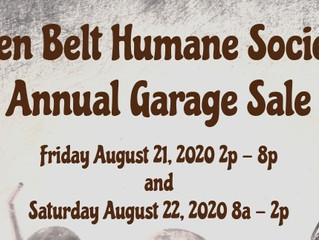 Golden Belt Humane Society's Annual Garage Sale Aug. 21 & 22