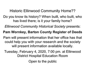Ellinwood Community Historical Society presents Pam Wornkey, Barton Co. Register of Deeds Feb. 4th