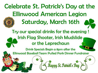 Celebrate St. Patrick's Day at the Ellinwood American Legion on Saturday, March 16th