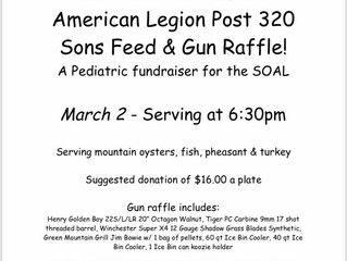 American Legion Post 320 Sons HostFeed and Gun Raffle March 2nd