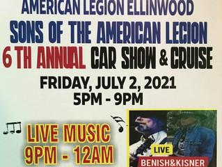 American Legion Sons of the American Legion 6th Annual Car Show & Cruise Friday, July 2