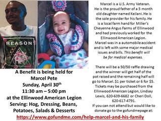 Benefit for Marcel Pete April 30th